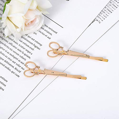 Leiothrix Hot Alloy Golden Scissor Hair Clips for Women and Girls Apply to Any Occasion (Two PCS in One Package)