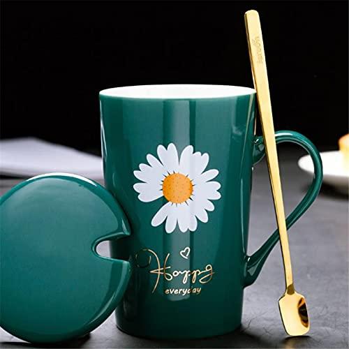 RZHIXR Taza De Cerámica con Estampado De Flores, Taza con Tapa, Taza De Café con Leche para Oficina, Taza De Té para Beber En Casa 400-500ml
