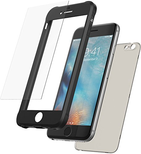 Mobilyos Cover iPhone 6s 360 Gradi + Protezione in Vetro temperato, [Antiurto, Silicone Morbido Antishock ] [ Nero ] Custodia iPhone 6 / 6s con Parte Posteriore Trasparente fumé