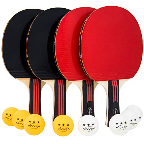 Best Prices! VIVVEA Ping Pong Paddle Set - 4 Premium Table Tennis Rackets Pack, 8 Professional Balls...