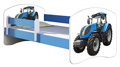 ACMA Kinderbett Jugendbett mit Einer Schublade und Matratze Blau mit Rausfallschutz Lattenrost II 140x70 160x80 180x80 (42 Traktor, 140x70)