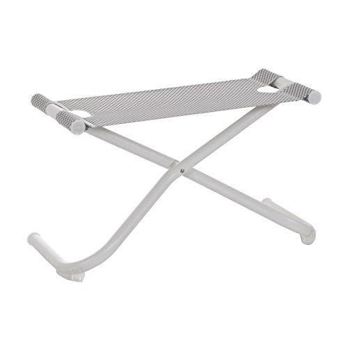 Snooze Garten Fußhocker, eisgrau weiß Sitzfläche EMU-Tex eisgrau LxBxH 72x32x43cm Gestell Stahl weiß klappbar