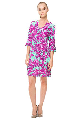 Aryeh Floral Ruffle Sleeve Dress (L) Mint