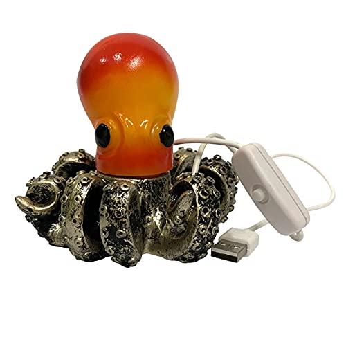 Baoblaze Lámpara de Mesa Octopus con Puertos USB, Linda lámpara de mesita de Noche Decorativa Octopus, lámpara de Noche Moderna para Dormitorio, Sala de Estar,