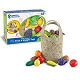 Learning Resources Fresh Picked Fruit And Veggie Tote, 17 Piece, Age 18 months+, Multicolor,8 L x 9 W in