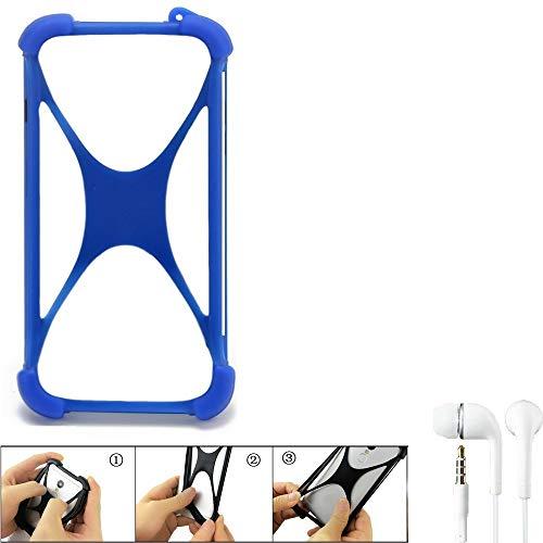 K-S-Trade Bumper Kompatibel Mit Ruggear RG730 Schutzhülle Handyhülle Silikon Schutz Hülle Cover Hülle Silikoncase Silikonbumper TPU Softcase Smartphone, Blau (1x), Headphones