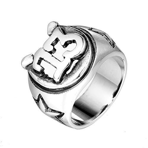 TnSok Simple Stainless Steel Men's Titanium Steel Number 13 Carved Metal Punk Rock Ring Handsome Ring (Color : Silver, Size : 10)