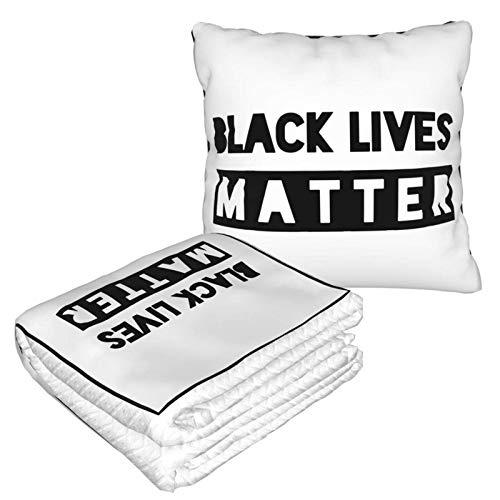Black Lives Matter 2-in-1 Premium-Decke, weich, gemütlich, warm, kompakt, Reisedecke, Flugzeug, Plüsch-Nackenkissen zum Schlafen, Set