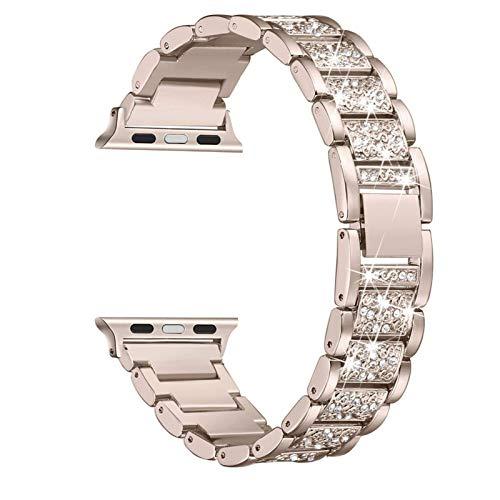 Fawyhr Reloj Correa Mujeres Diamante Rhinestone Glitter Muñeca Metal Pulsera de Pulsera Reemplazo Strap de Acero Inoxidable Pulsera de Mujer (Color : Silver, Size : 42/44mm)