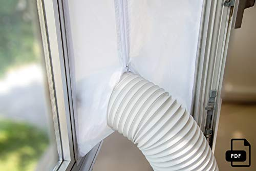 Window Seal for AC Unit – Window Seal for Portable Air Conditioner – Sealing AC with Zip and Adhesive Fastener – Best Way to Seal Casement Window with Maximum Length of 158 inches