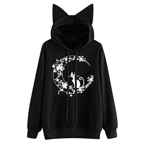 Sudadera para Mujer,riou Sudaderas Adolescentes Chica De Manga Larga Estampada Gato Casual Chaqueta con Capucha Suéter Abrigo Pullover Jersey de Bolsillo