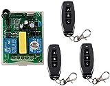 Wechselstrom 220VAC RF 2 Kanal kabellose Fernsteuerungs 1 * Empfänger + 3 * Transmitter Schlauchmotor-Garagentor Projektion schirm Seilwinde 3 Knopf Vorwärts- und Rückwärtssteuerung des Motors