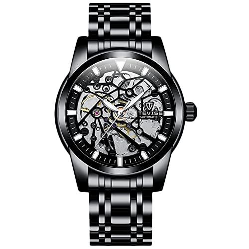 RORIOS Hombre Reloj Impermeable Mecánico Automático Relojes con Correa Acero Inoxidable Tourbillon Relojes de Pulsera Moda Reloj para Hombre