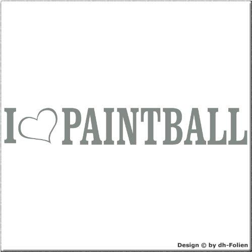 cartattoo4you AL-00872 I Love -als Herz- Paintball Autoaufkleber Aufkleber Farbe Silber,in 24 Farben erhältlich, glänzend 20 x 3 cm