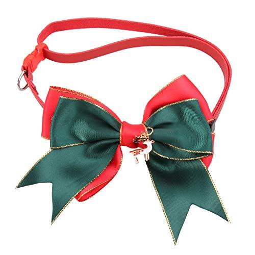 Amosfun Weihnachtsbogen Halsband für Hund Katze Kleintiere Haustiere Verstellbares Haustier Halsband Haustier Hals Dekor Zubehör Rot Grün 45Cmx11cmx1cm