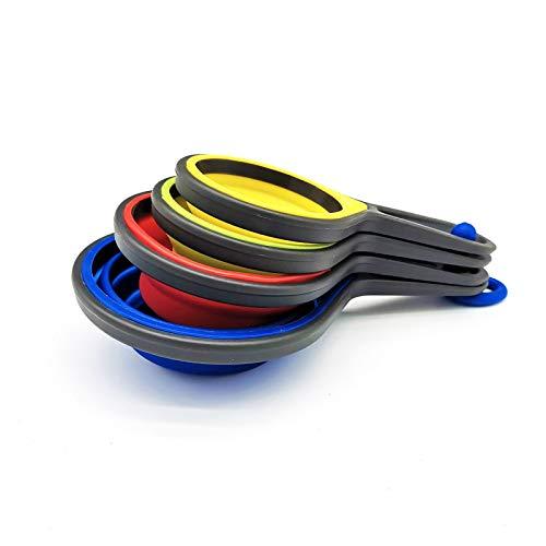 Juego de 4 cucharas medidoras de silicona, plegables, para cocina y horneado