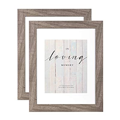YOUNG POONG 11x14 Rustic Picture Frame 2Pack for Table-Top Display and Wall Mounting Photo Frame-Grey