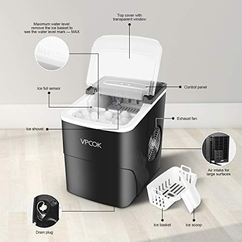 Ice Maker Countertop Portable Ice Makers VPCOK with Ice Spoon and Basket, 26.5 lbs in 24 Hours, 2 Ice Sizes, 2.2 L, 9 Ice Cubes Per 6-13 Min