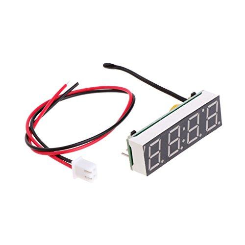 Qiman Reloj digital LED para coche, electrónico, tiempo, temperatura, voltaje, 3 en 1 metro, 12 V, 5-20 V
