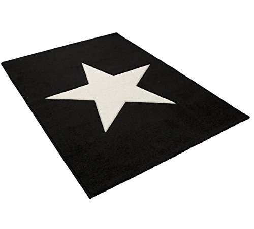 Art For Kids Tapijt Star, zwart/wit, 120 x 170 cm