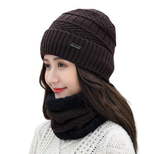 BRATS N BEAUTY ® - Brown Color Winter Fashion Women Knit Beanie Lady Woolen Hat Plus Velvet Thickening Warm Windproof Cycling Hat Fur Scarf Crochet Cap