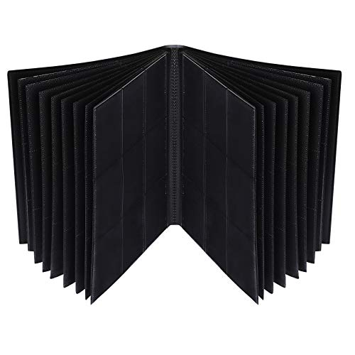 Lictin Álbum de para Cartas-Álbum de para Cartas coleccionista Negro para 396 Cartas 22 Paginas Transparente e impermeable Para Tarjetas de Tamaño Estándar(Negro)