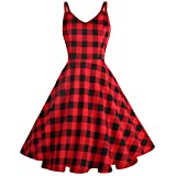 GOOBGS Women's 1950s Retro Vintage Spaghetti Strap Cocktail Swing Dresses with Pockets Black-red Plaid S