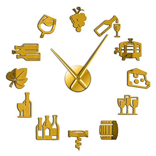 xinxin Reloj de Pared Uvas Vino Alcohol 3D DIY Reloj de Pared Barrido silencioso Amante del Vino Cocina Decoración de Pared Acrílico Efecto Espejo Reloj Reloj Espectáculo Creativo