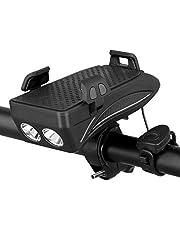 SUNWAN 4-in-1 fiets koplamp, fiets hoorn, telefoonhouder, USB oplaadbare powerbank, waterdicht verstelbaar schokabsorberend met LED-licht en hoorn, voor 4 tot 6,6 inch telefoon