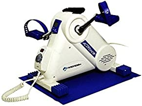 Home Gym Motorized Exercise Cycle, folded pedal, foot strap, carry handle, White