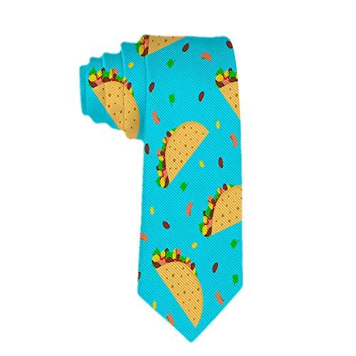 Royal Legacy Corbata delgada de tacos mexicanos con patrón de dibujos animados lindo clásico para hombre, corbata delgada tejida delgada, corbata de moda ecológica para niños