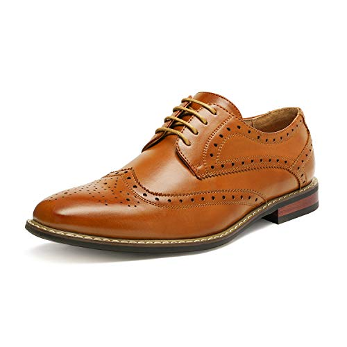 Bruno HOMME MODA ITALY PRINCE Men's Classic Modern Oxford Wingtip Lace Dress Shoes,PRINCE-3-BROWN,9 D(M) US