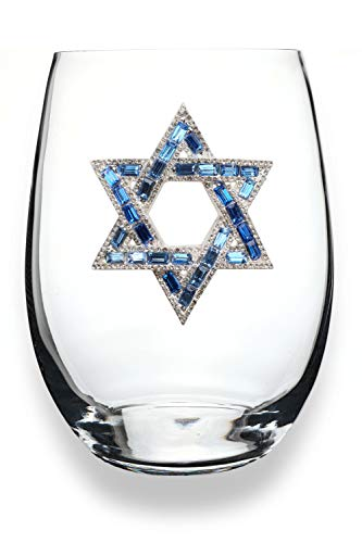 THE QUEENS' JEWELS Star of David Jeweled Stemless Wine Glass - Unique Gift for Women, Birthday, Cute, Fun, Hanukkah, Not Painted, Decorated, Bling, Bedazzled, Rhinestone