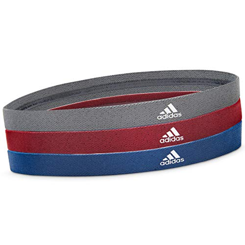 adidas Damen Sports Hair Bands - Metallic Grey, Blue, Burgundy Haarbänder Einheitsgröße