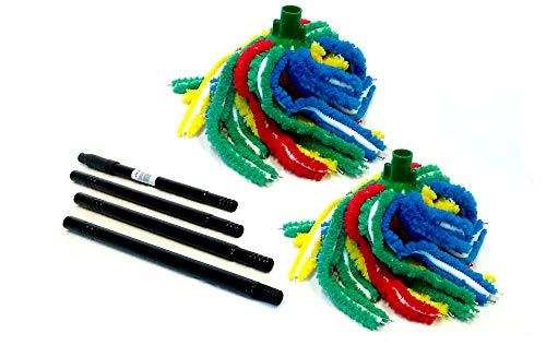 elegi Pack 3 Unidades: 2 Fregonas Microfibra Parchis Confeccion. Montada a Mano + 1 Palo Metalico Desmontable 1.40 MTS
