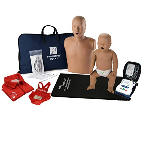 Adult and Infant CPR Manikin Kit with Feedback, Prestan UltraTrainer, and MCR Accessories-Dark Skin