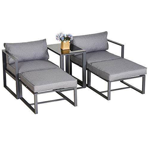 Outsunny 5 Piece Garden Conversation Set Patio Furniture Set Outdoor Sun Lounger 2 Sofas 2 Footstools End Table with Cushions