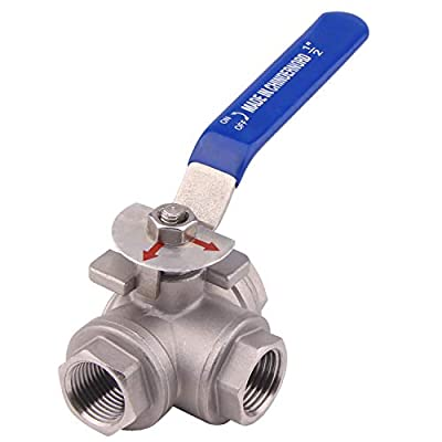 Dernord 3-Way Ball Valve, L Mounting Pad, Stainless Steel 304 Female Type with Vinyl Locking Handle (1/2 Inch NPT) by DERNORD