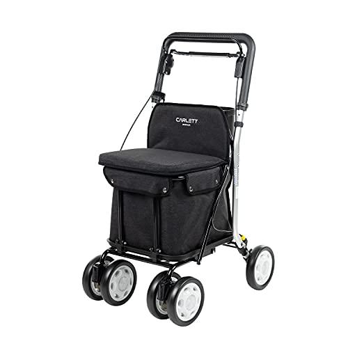CARLETT | Einkaufstrolley mit 4 Rädern Plus Sitzmöglichkeit | Lett800 Senior Comfort | Zusammenklappbarer Einkaufswagen mit herausnehmbarer Einkaufstasche 29L/15kg und Innenfach | Schwarz