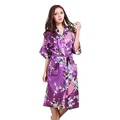 Yidarton Womens Long Fashion Kimono Robe With Peacock and Blossoms