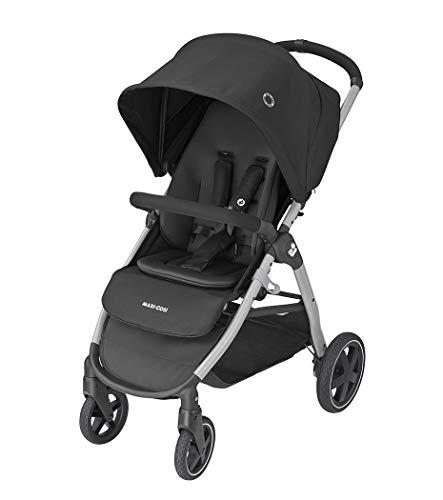 Maxi-Cosi Gia, kompakter Kinderwagen mit bequemem Sitz, nutzbar ab der Geburt bis ca. 4 Jahre (max. 22 kg), faltbarer All-Terrain-Buggy inkl. Regenverdeck & großem Einkaufskorb, essential black