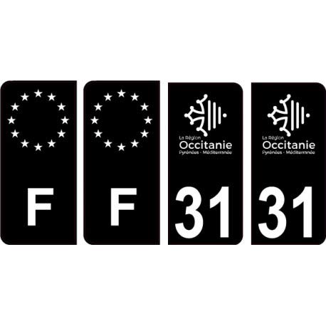 31 Haute Garonne logo noir autocollant plaque immatriculation auto sticker Lot de 4 Stickers - Angles : arrondis