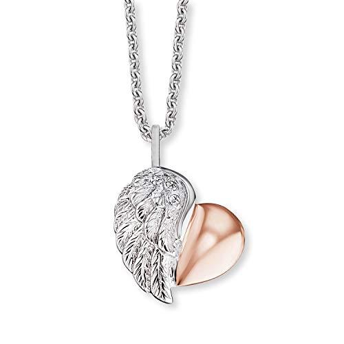 Engelsrufer - Damen Halskette Herzflügel Bicolor aus 925 Sterlingsilber, zierliche Frauen Silberkette mit Herz, Kettenanhänger zweifarbig