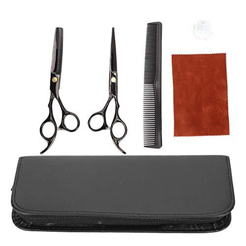 Tijeras para adelgazar, tijeras profesionales para cortar el cabello, incluye tijeras de peluquero de acero inoxidable negro + paño de limpieza + bolsa de almacenamiento y peine