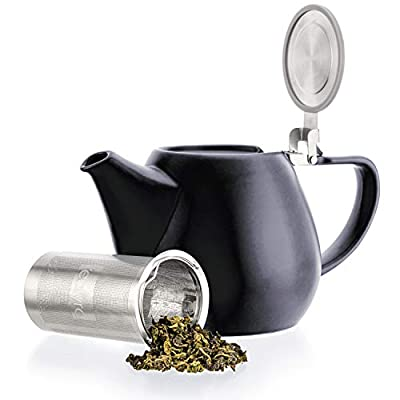 Tealyra - Jove Porcelain Large Teapot Black - 34.0-ounce (3-4 cups) - Japanese Made - Stainless Steel Lid and Extra-Fine Infuser To Brew Loose Leaf Tea - 1000ml
