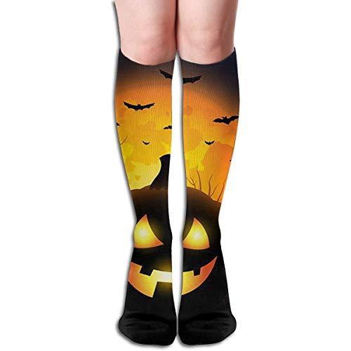 xinfub Happy Halloween Kürbis Gesicht Design elastische Mischung lange Socken Kompression Kniestrümpfe (50cm) für Sport Comfortable10777