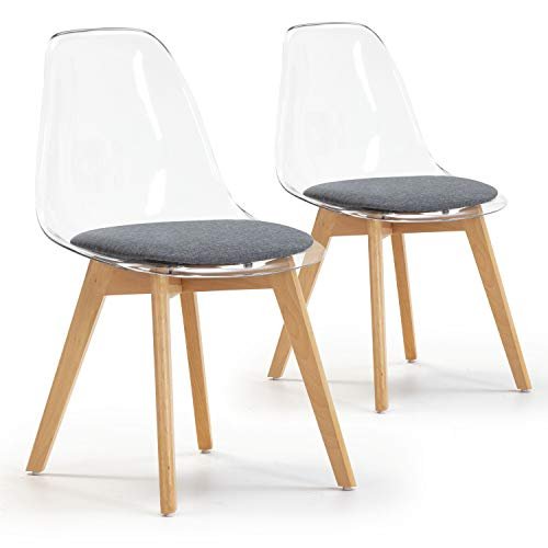VS Venta-stock Set de 2 sillas Comedor Bruno Transparentes con cojín en el Asiento, certificada por