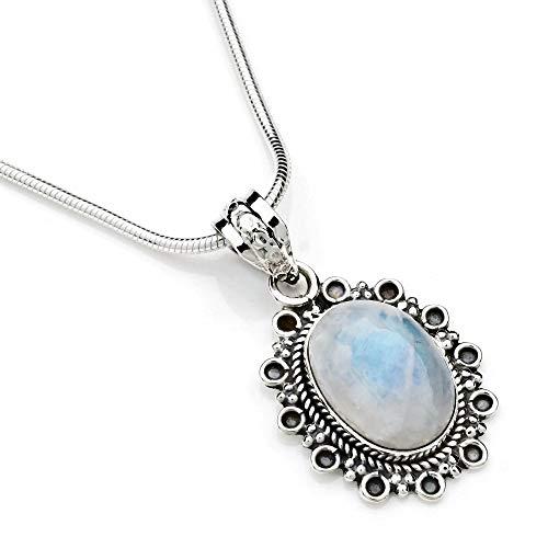 Kette mit Mondstein Halskette Kettenanhänger 925 Silber weiß blau (103-04 03), Kettenlänge:40 cm