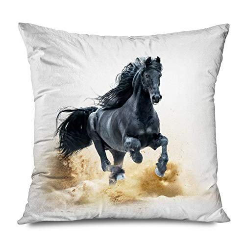 Funda de almohada decorativa cuadrada Pretty Farm Purebred Black Pet Long Friesian Storm Equine Horse Running Desert Eye Gallop Almohada para exteriores Funda de cojín Decoración para el hogar Funda d