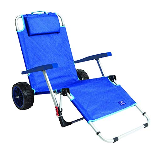 Mac Sports 2-in-1 Outdoor Beach Cart + Folding Lounge Chair w/Lock | Tanning, Sunbathing, Lounging, Pool, Backyard, Porch | Portable, Collapsible with All-Terrain Wheels | Blue w/Lock